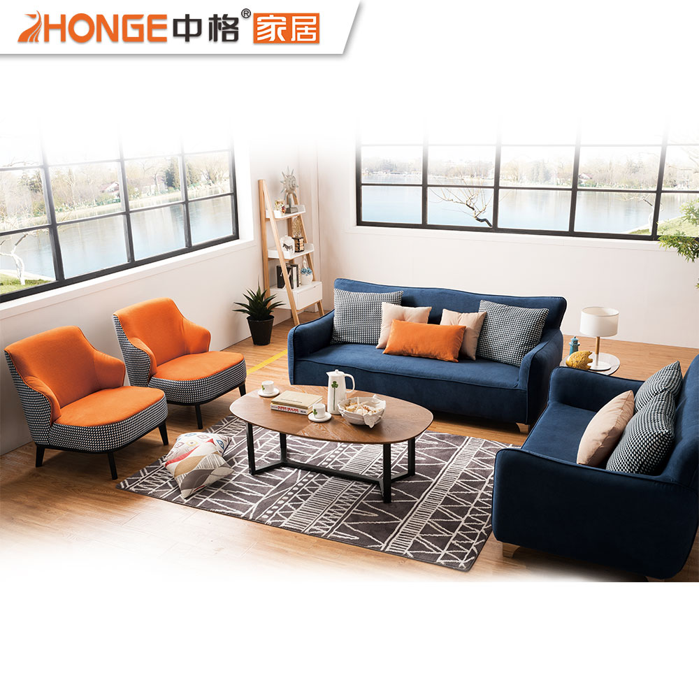 Northern europe modern home furniture fabric nordic corner sectional navy blue sofa