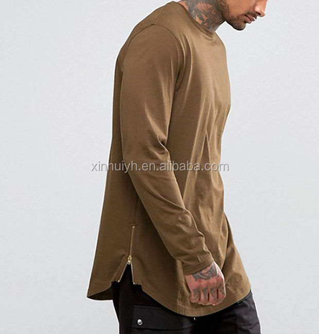 OEM New Design Longline Long Sleeve Men T-Shirt With Curve Hem And Zipper Brown Color
