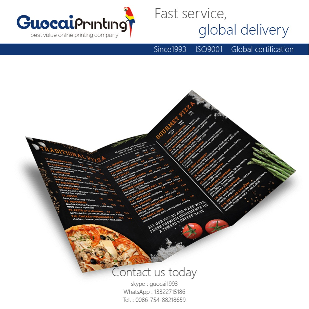 Low cost custom restaurant menu printing, cookbook printing
