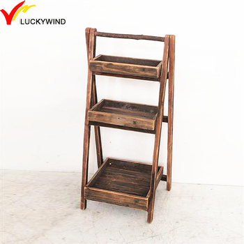 Portable Handmade Vintage 3 Tier Wood Display Stand