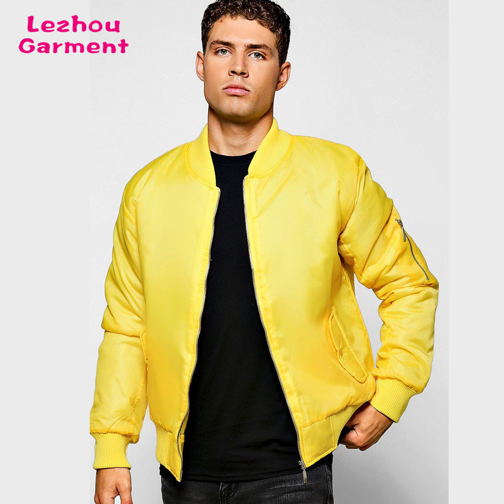 Men cbomber custom logo yellow winter jacket