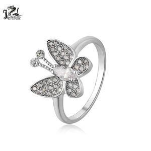 Hot selling bridal jewelry 925 sterling silver ring engagement ring butterfly shape ring