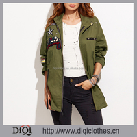 Top fashion new arrivals women Army Green Patch Zipper Coat With Drawstring
