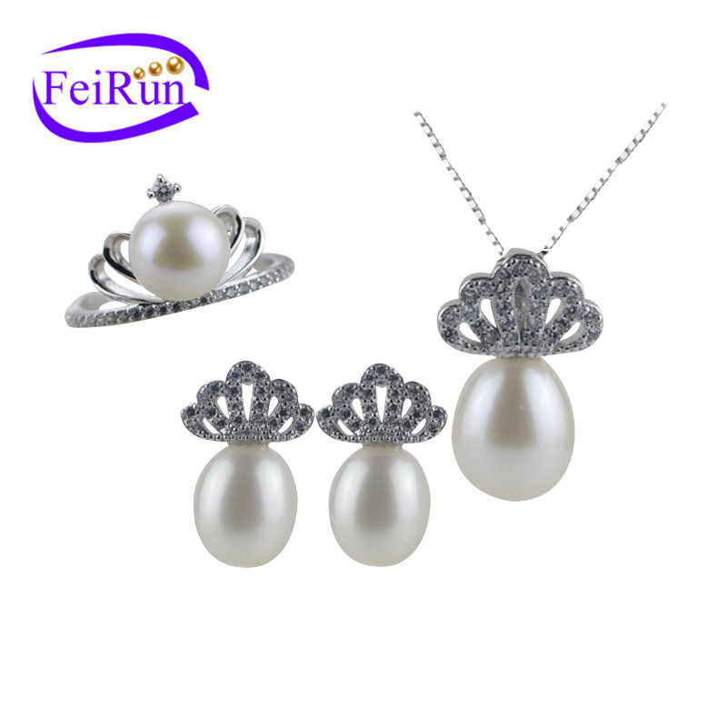 8mm AAA grade freshwater natural drop and button shape white pearl jewelry set