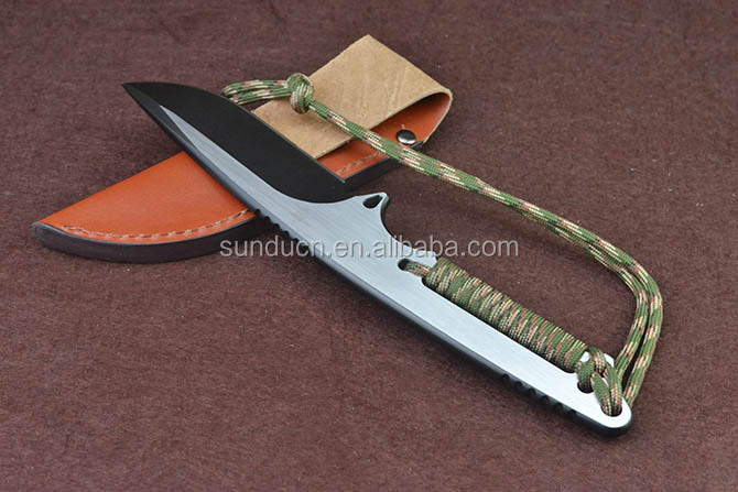 D2 Steel Blade Full Tang Metal Handle with Rope Titanium Satin Finish D2 Hunting Knife Fixed Blade Knife