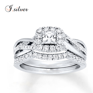 Stylish silver love bridal set with white gold plated and CZ diamond ring R50886