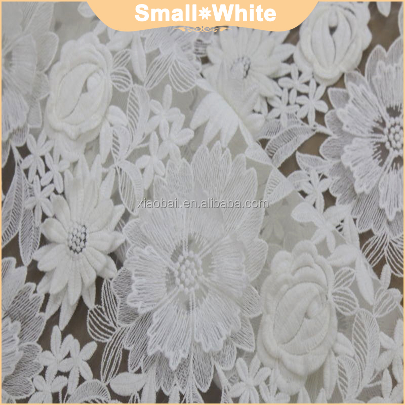 White cotton lace embroidery fabric 3D three-dimensional special dress lace