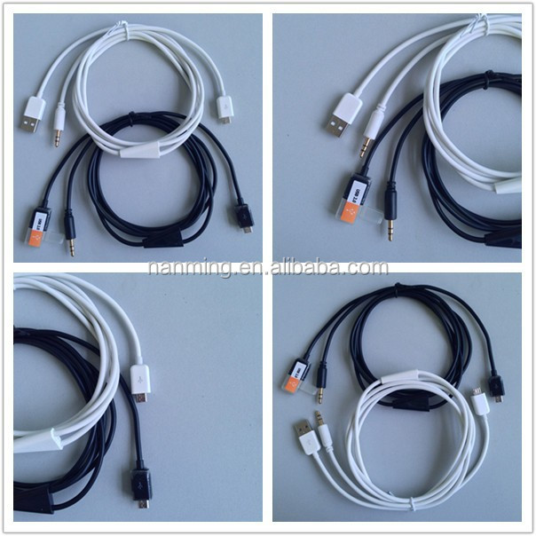 Audio USB Cable Cord with micro usb charger cable
