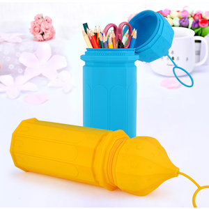 Cartoon Silicone Pen Storage Case School Stationery Kids Pencil Zipper Bag