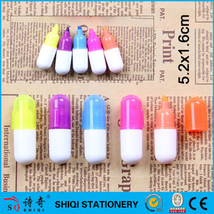 Promotional plastic mini pill shape highlighter