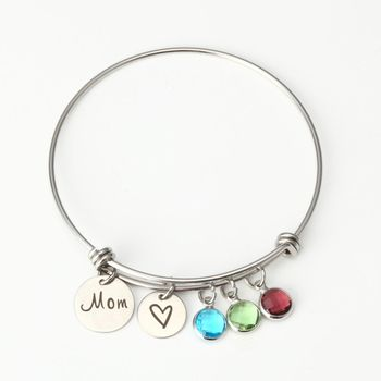 2019 Fancy Memorial Jewelry Stainless Steel Disc Birthstone Crystal Charm Bangle Mom Heart Thanksgiving Gifts