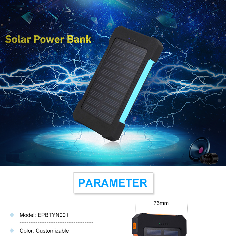 Bulk cheap high capacity 5V 2A 10000Mah solar powerbank 10000Mah portable mobile phone charger with LED light powerbank