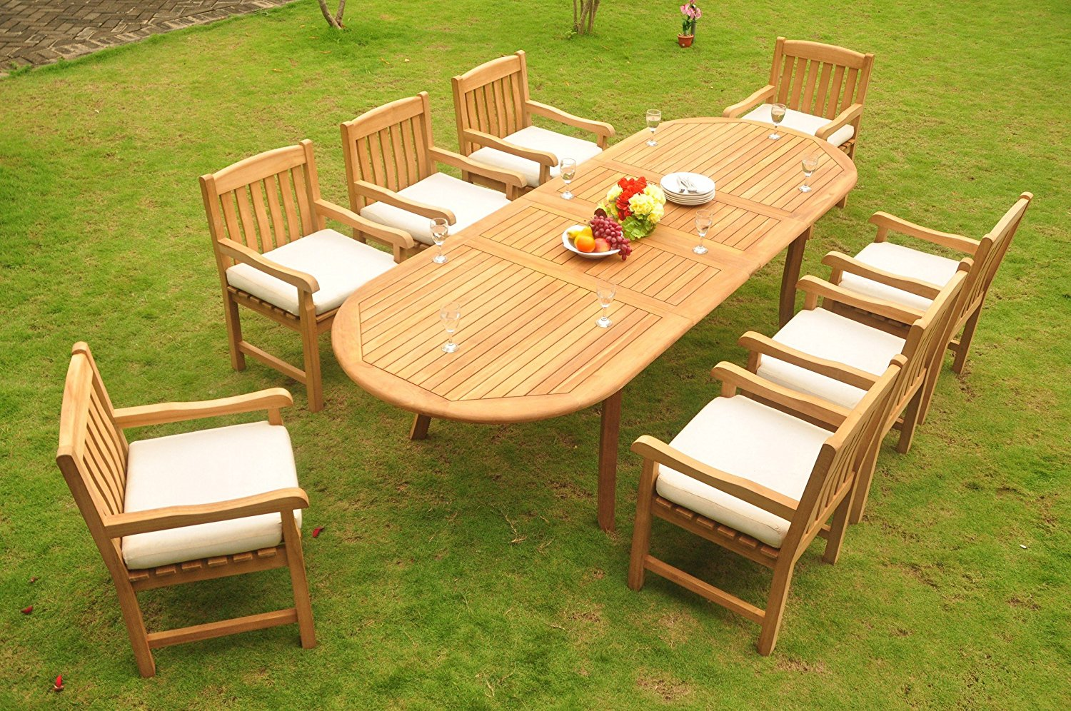 """TeakStation 8 Seater Grade-A Teak Wood 9 Pc Dining Set: 117"""" Double Extensions OVal Dining Table and 8 Devon Arm / Captain Chairs #TSDSDVx"""