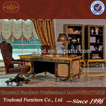 0061 Luxury Royal Home And House Office Furntiure Wood Carved Writing Desk Chair Furniture Product On