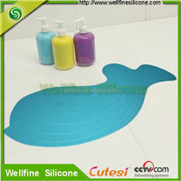 Animal shape silicone rubber bath mat bathroom with non-slip bottom suction cup design