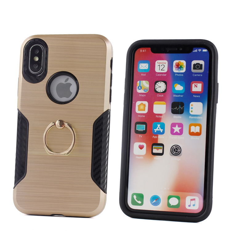 360 rotation ring stand for iphone x case and cover,brush carbon fiber soft tpu pc hard for iphone x case gold black фото