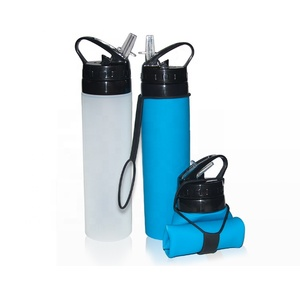 600ml/20oz BPA Free Private Label Foldable Sports Silicone Water Bottle with Print Logo