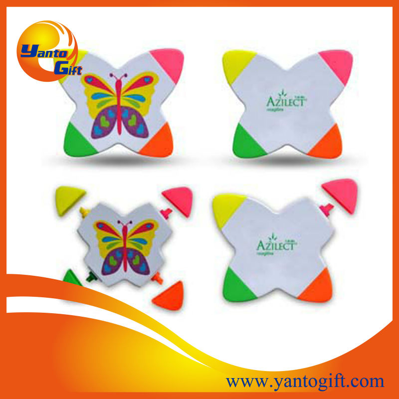 Logo printed mini highlighter pen with butterfly shape