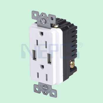 USA Duplex wall socket outlet 2.1A High Speed USB Charger Receptacle 16A Tamper Resistant Outlet & Wall Plates