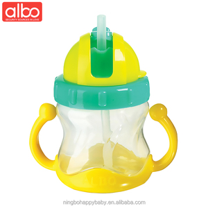 albo brand 210ml plastic PP sippy water cups with handle easy carry baby training cups