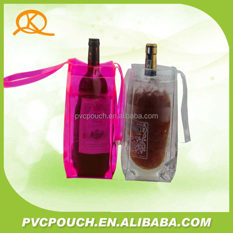More kinds packing transparent PVC wine cooler plastic bag with handle