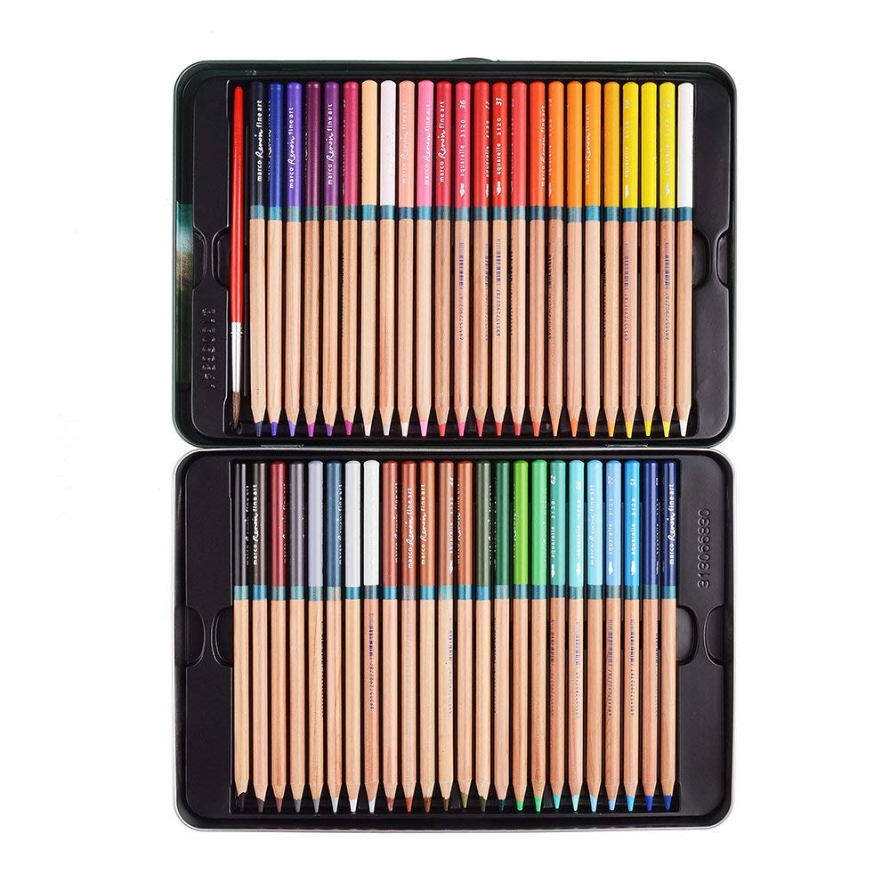 Marco Renoir Fine 48 Colors Water Soluble Drawing Pencil Set Non-toxic Pencils Tin Wooden Painting Artist Sketching Craft Graphite with Iron box