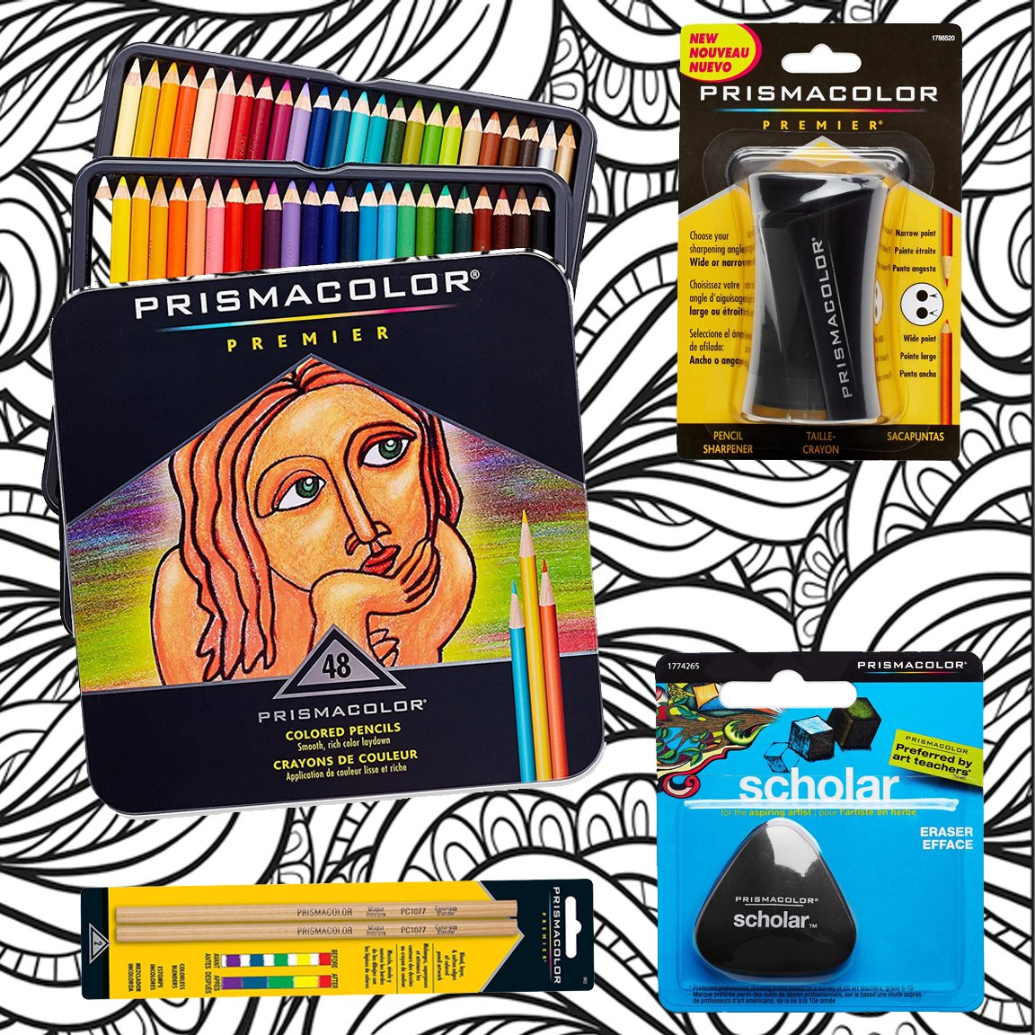 Prismacolor 48-Count Colored Pencils, Triangular Scholar Pencil Eraser, Premier Pencil Sharpener, Colorless Blender Pencils, and CSS Adult Coloring Book