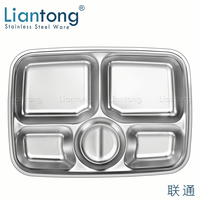 Factory Cheap High Quality School Canteen Stainless steel small 5 compartment divided fast food lunch tray