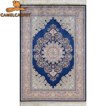 Brillant Bleu Royal Tapis Oriental En Soie Kerman Tapis Persan Buy