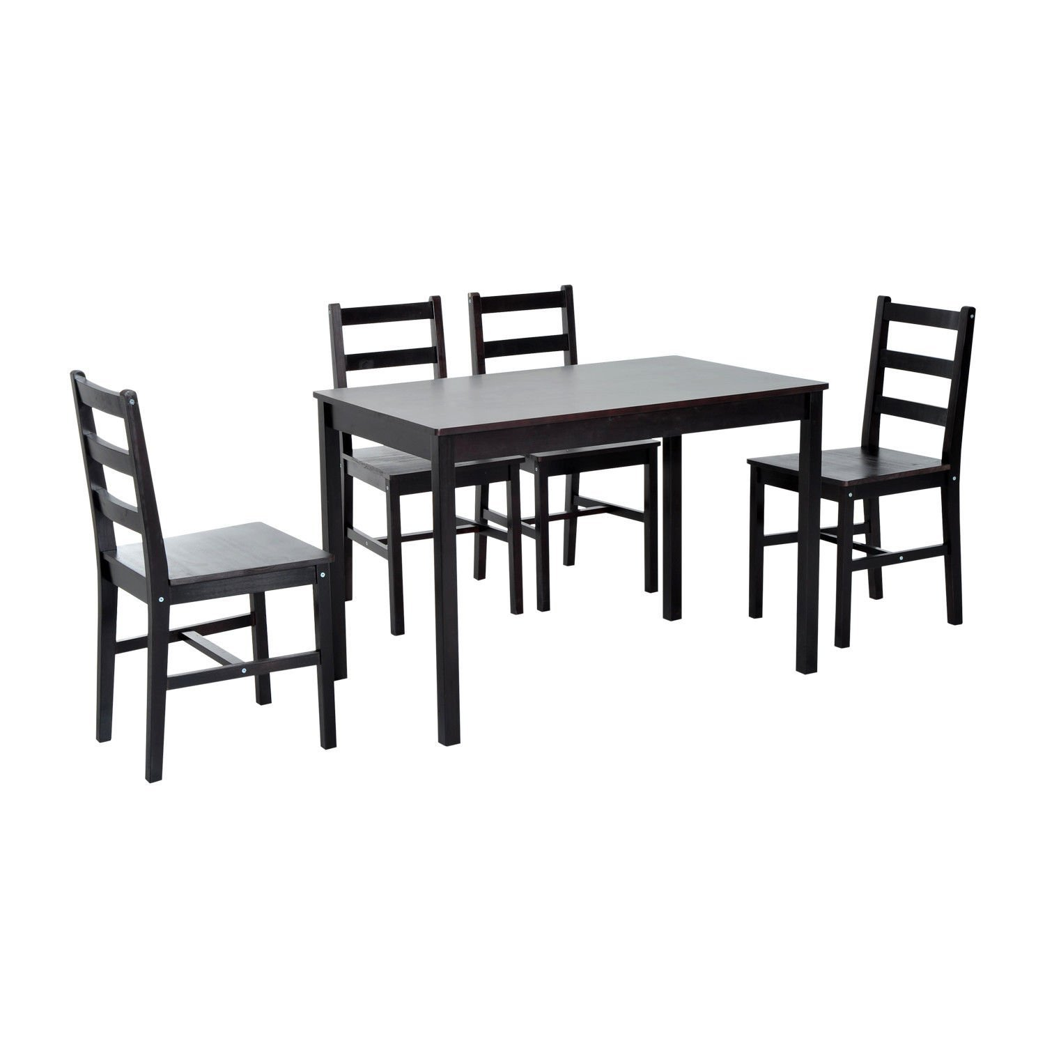 Globe House Products GHP Home/Office Dark Brown 5-Pcs Durable Solid Pine Wood Dining Table & Chairs Set