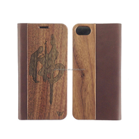 Newest Selling Real Wood Phone Cover Case for iPhone, Flip Wallet Wood PU Leather Cell Phone Back Cover Stand