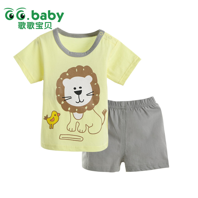 Cheap Baby Clothing Set Summer Style Lion Newborn Baby Boy Girl Clothes Set Short Sleeve Ropa Bebes Suit Original Carters Menino