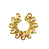 Non Pierce Gold Plated Flower Pink CZ Shield Fake Nipple Ring Body Piercing Jewelry