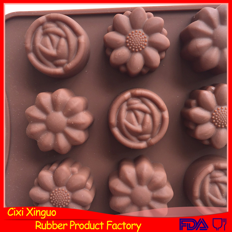 15 holes flower shape silicone chocolate ice cube tray mold