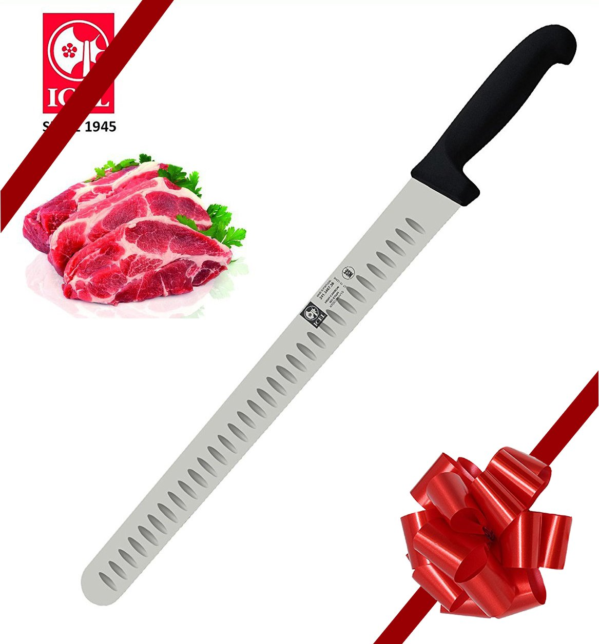 14-inch Blade Granton Edge, Turkey, Salmon, ham Slicer, Meat Slicing Knife. NSF Certified, German Steel,Knife sharpening instruction included, Best Knife to Slice Large Roast and Whole Turkey.