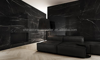 b6718c514 Black Marble With White Veins Tiles On The Bedroom Wall
