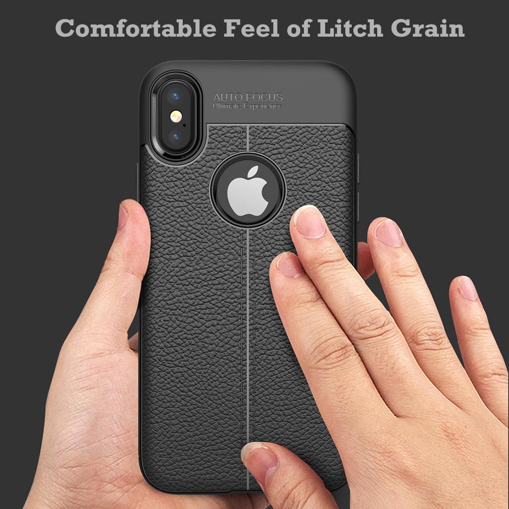 New Arrival Litchi Grain 360 Full Protective Soft TPU Leather Shockproof Phone Cover Case for Apple iPhone X