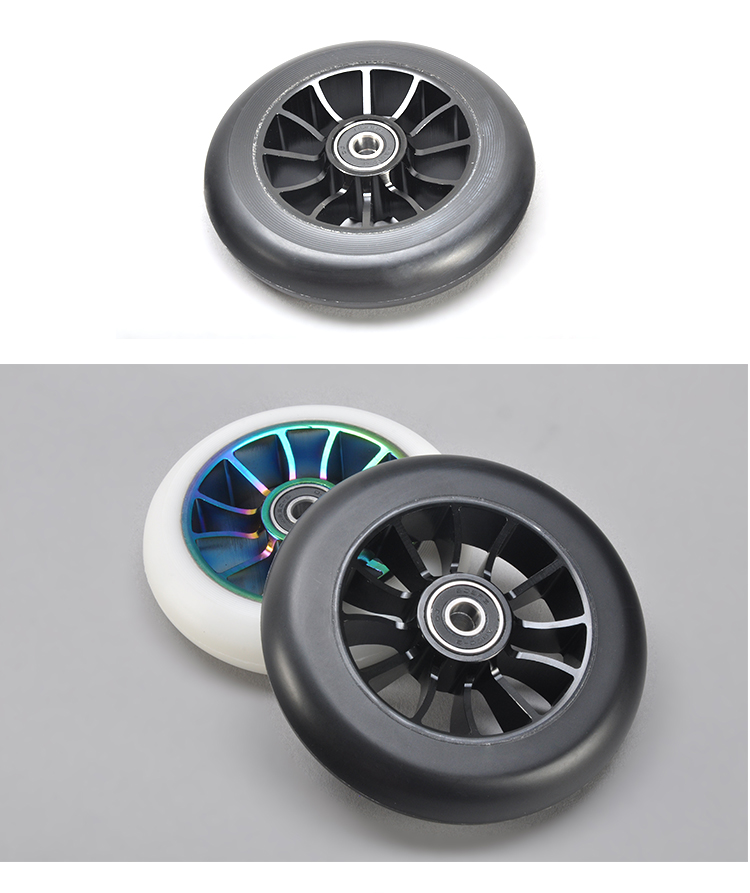 Pure black 5 thick spokes core 110mm extreme kick scooter big wide alloy two wheel RX-FSW-06
