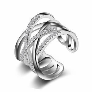 Latest Design Fashion Jewelry Adjustable Wedding Diamond Finger Double Layered Open End Ring