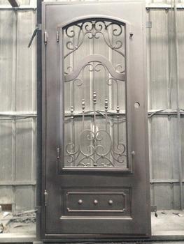 2016 New Single Front Iron Door Moden Square Top With Half Windows Exterior  Door