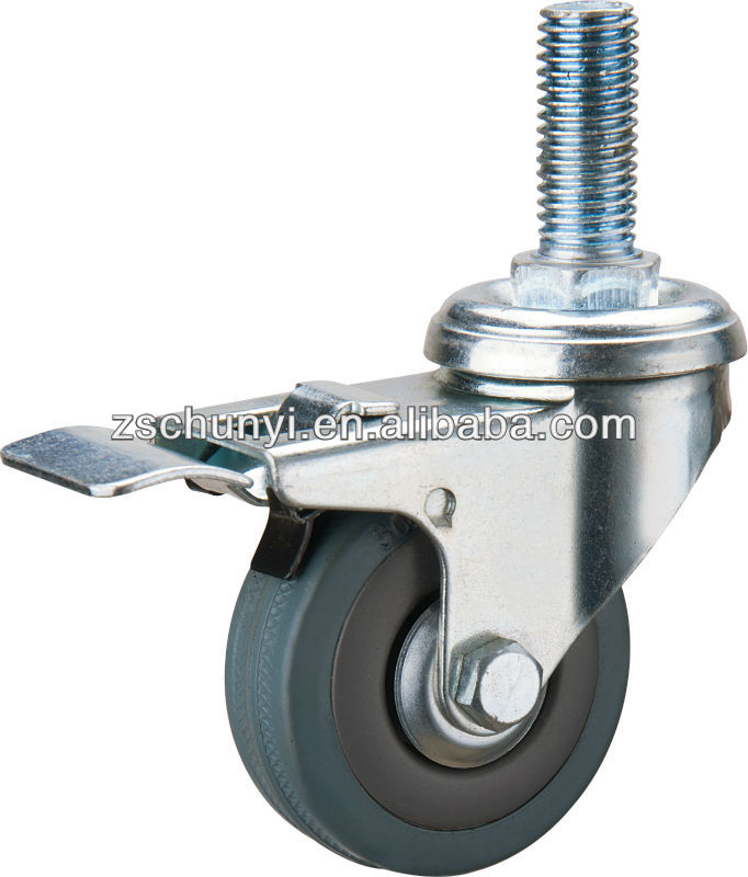 The 2 inch Gray plastic brake caster, with rubber wheel PP center, with screw M8*15