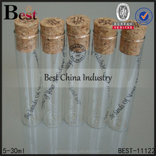 5-30ml glass bottle with cork lid flat bottom test tube vial bottle wholesale fine china sample