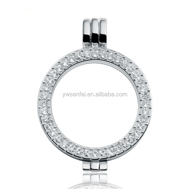 Hot sale fashion style locket pendant hot zinc alloy 35mm width white crystal coin holder pendant