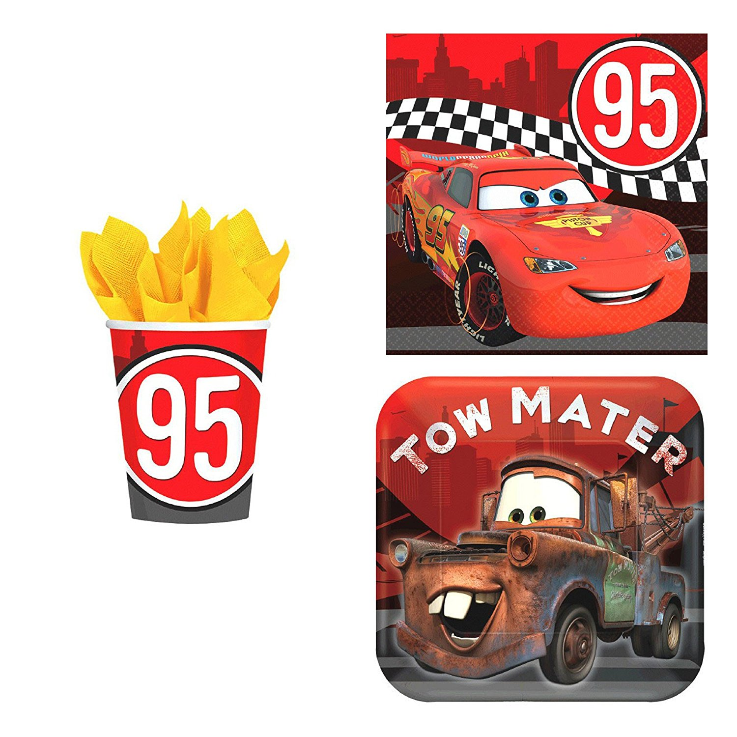 Disney Cars Formula Racer Birthday Party Supplies Kit: Plates, Napkins, and Cups for 16