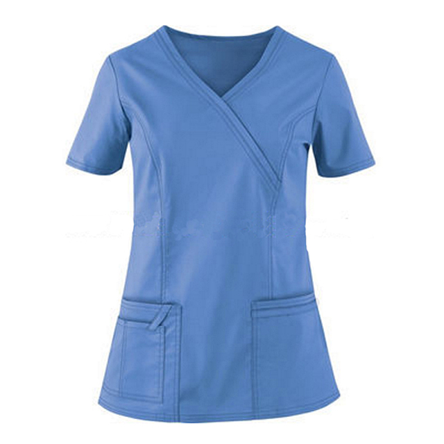 OEM Poly Cotton Y Neck Short Sleeves Dental Clinic Nurses Scrub Tops