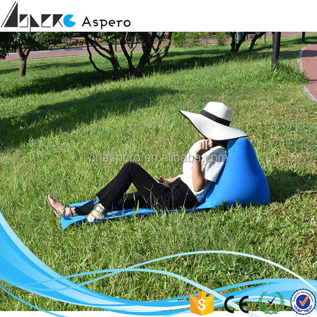 Skype Blue Lazy bag inflatable sleeping bag air sofa laybag couch air lounger sofa for beach or camping