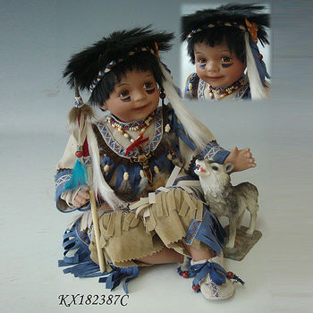 wholesale porcelain dolls 18inch native american baby doll realistic