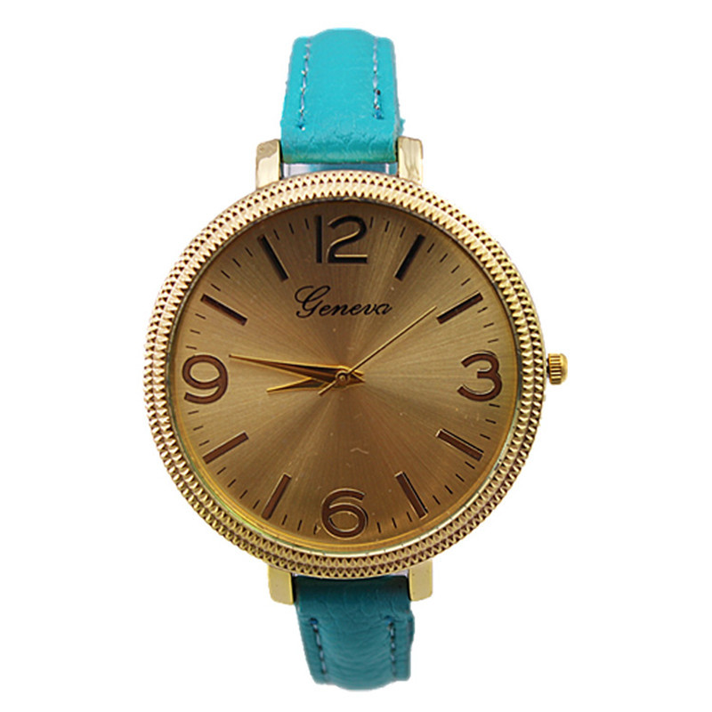 high quality lady casual bracelet big gold face slim leather strap quartz analog display geneva women fashion watch