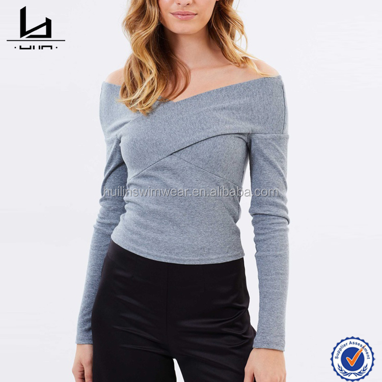 New style low price t shirt for women off-the-shoulder long sleeve tshirt