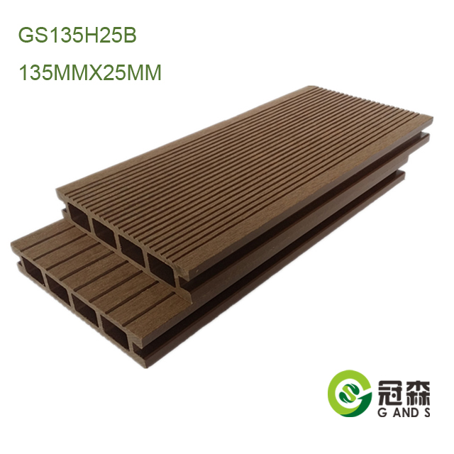 China Cheap Exterior wood plastic flooring 135MMX25MM